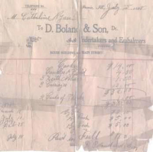A  bill from 1898 shows the original location of D. Boland & Son in the Rouse Building at 400 Main Street, Peoria, Illinois.